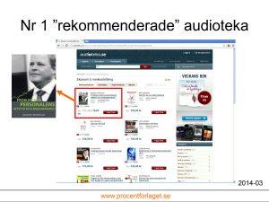 """I kategorin """"Ekonomi & marknadsföring"""" hos Audioteka kommer Ingemar Fredrikssons bok """"Problem med personalens attityd och engagemang?"""" på första plats om man sorterar på """"Rekommenderade""""."""
