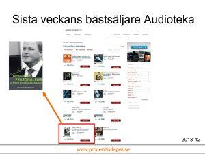 """Ingemar Fredrikssons bok """"Problem med personalens attityd och engagemang?"""" hamnar bland en mängd välkända titlar hos Audioteka när man selekterar på """"Senaste veckans bästsäljare"""" i december 2013"""
